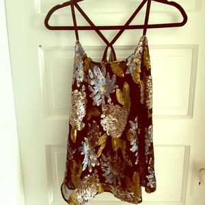 Glam Floral Sequin Top